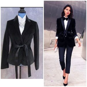 GAP women's black velvet blazer jacket tie belt 12